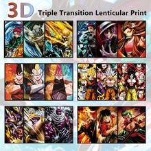 Dbz 3d lenticular cartaz uma peça 3d pinturas da arte da parede naruto anime 3d tridimensional pinturas decoração da parede 3d impressão