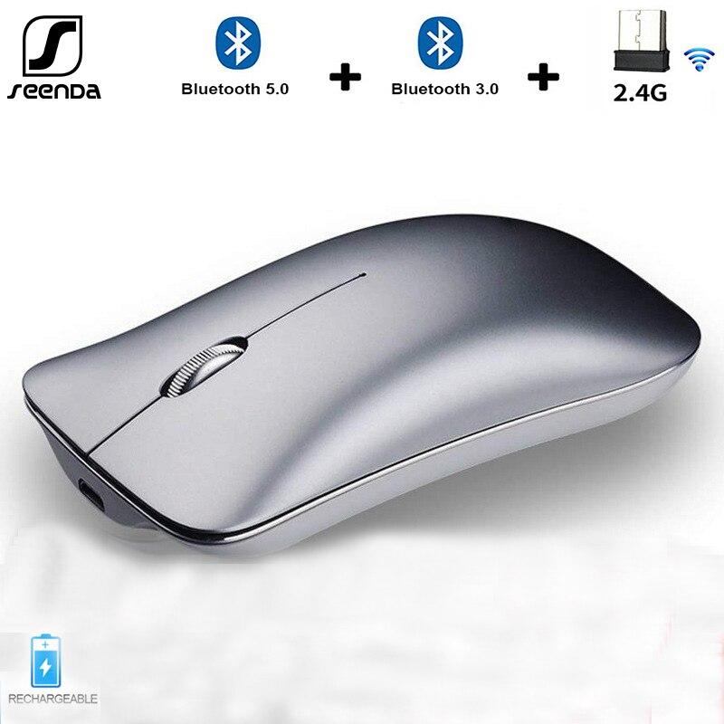 Seenda três modo sem fio 2.4g + bluetooth 5.0 + 3.0 mouse ultra-fino liga de alumínio recarga mouse portátil ergonômico silencioso ratos