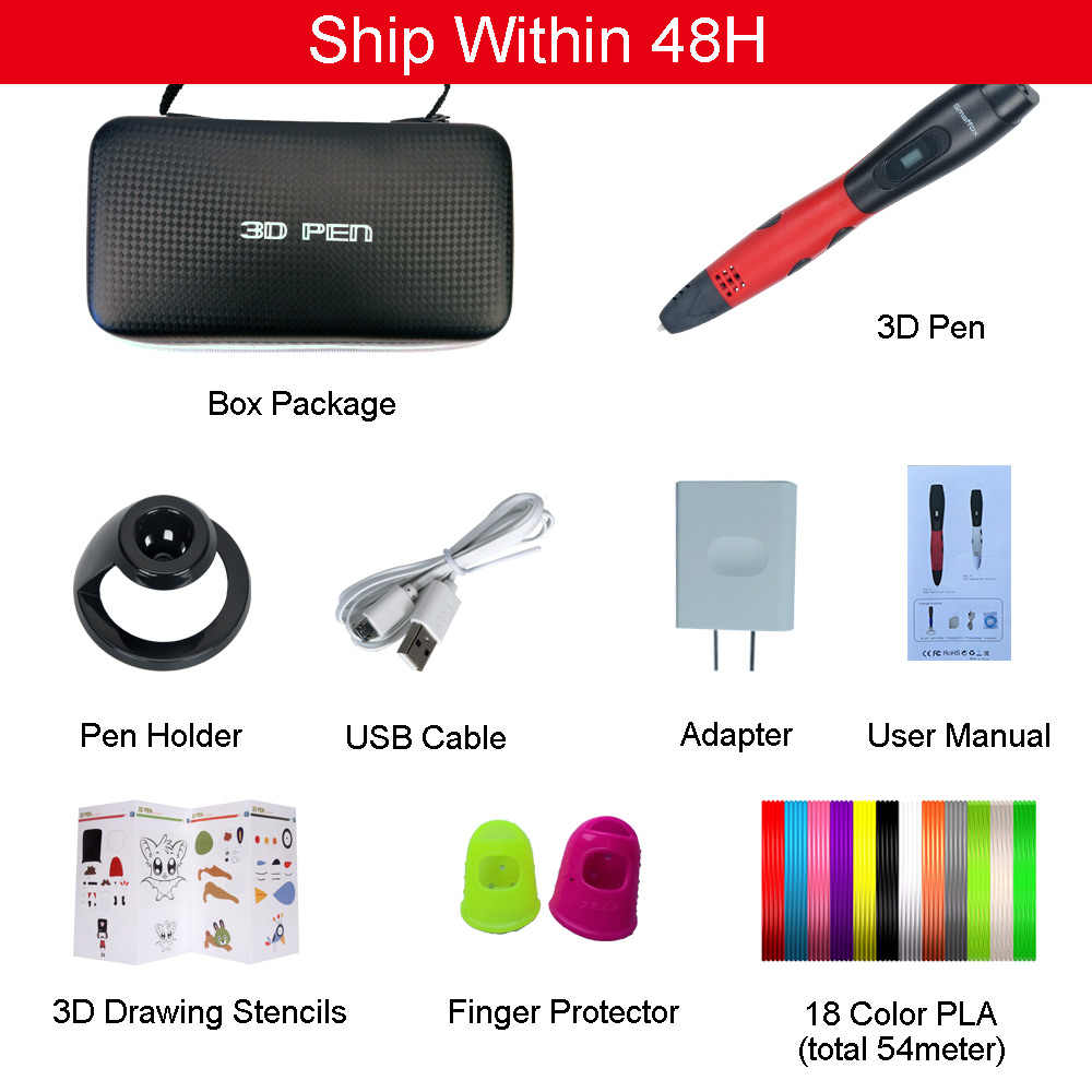 Smaffox 3D Pen Met 18 Kleuren 54 Meter Pla Filament Printing Pen Ondersteuning Abs En Pla Kids Diy Tekening Pen met Lcd Display
