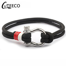 CUTEECO Rescue Umbrella Rope Outdoor Bracelets Buckle Camping Rope Paracord Hiking Tactical Survival Braided Camp Equipment