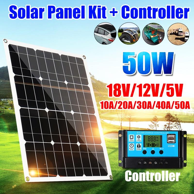 50W panneau solaire cellules solaires Poly panneau solaire double sortie USB 10/20/30/40/50A contrôleur pour voiture Yacht 12V batterie bateau chargeur
