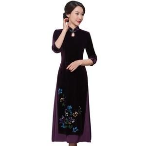 Image 5 - 2019 satış yüksek Quinceanera Vietnam kadife Cheongsam geliştirilmiş Qipao elbise uzun el boyalı kadın yeni fon sonbahar kış