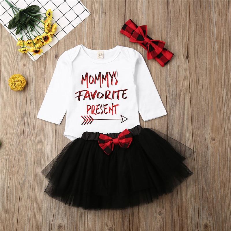 0-18 monate Neugeborenes Baby Mädchen Kleidung Weiß Top Weiß Rot Buchstaben Schwarz Tutu Kleid Overall Body Mädchen Sets