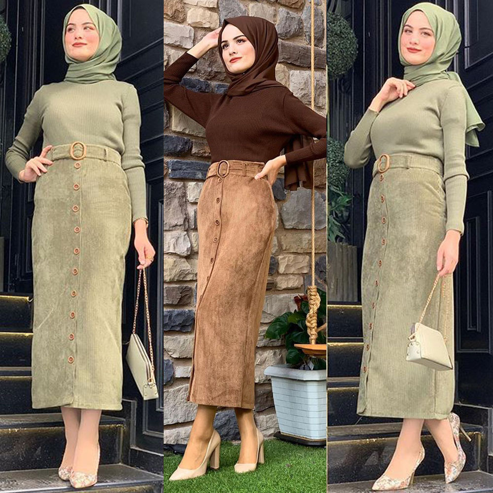 Women Belt Skirt Long Jumpsuit Muslim Bottoms Buttons Pencil Skirts Islamic Corduroy Bodycon Abaya Jilbab Knitting Cotton Dubai
