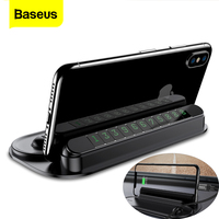 Baseus Car Phone Holder With Cable Winder Temporary Car Packing Card Night Light Phone Number Card Notification Cell Phone Stand