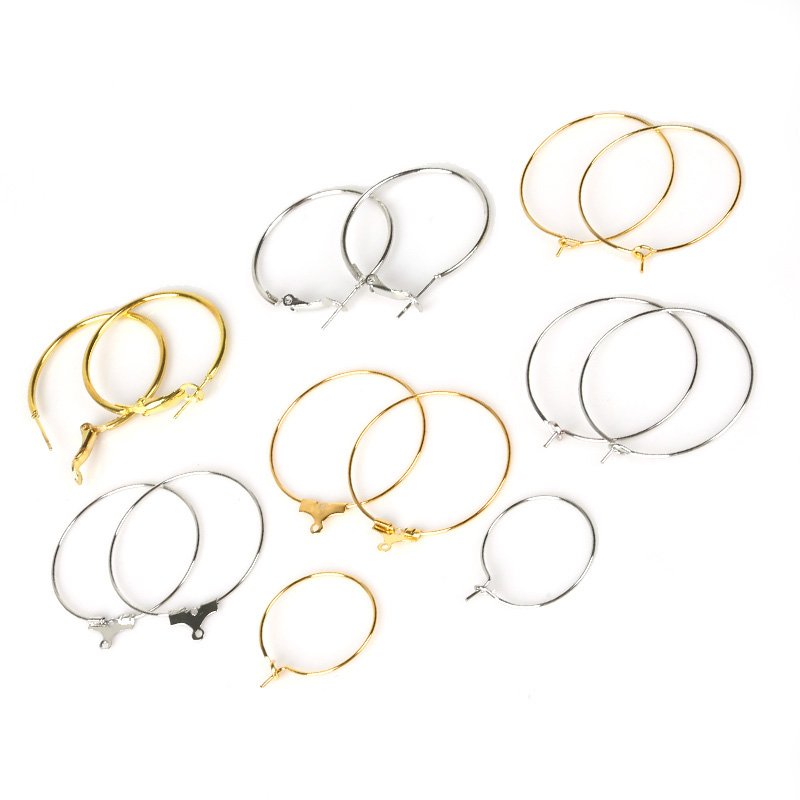 10-100pcs/lot 20 24 30 40mm Gold Silver Earrings Hoops Big Circle Ear Wire Hoops Earrings Wires For DIY Jewelry Making Findings