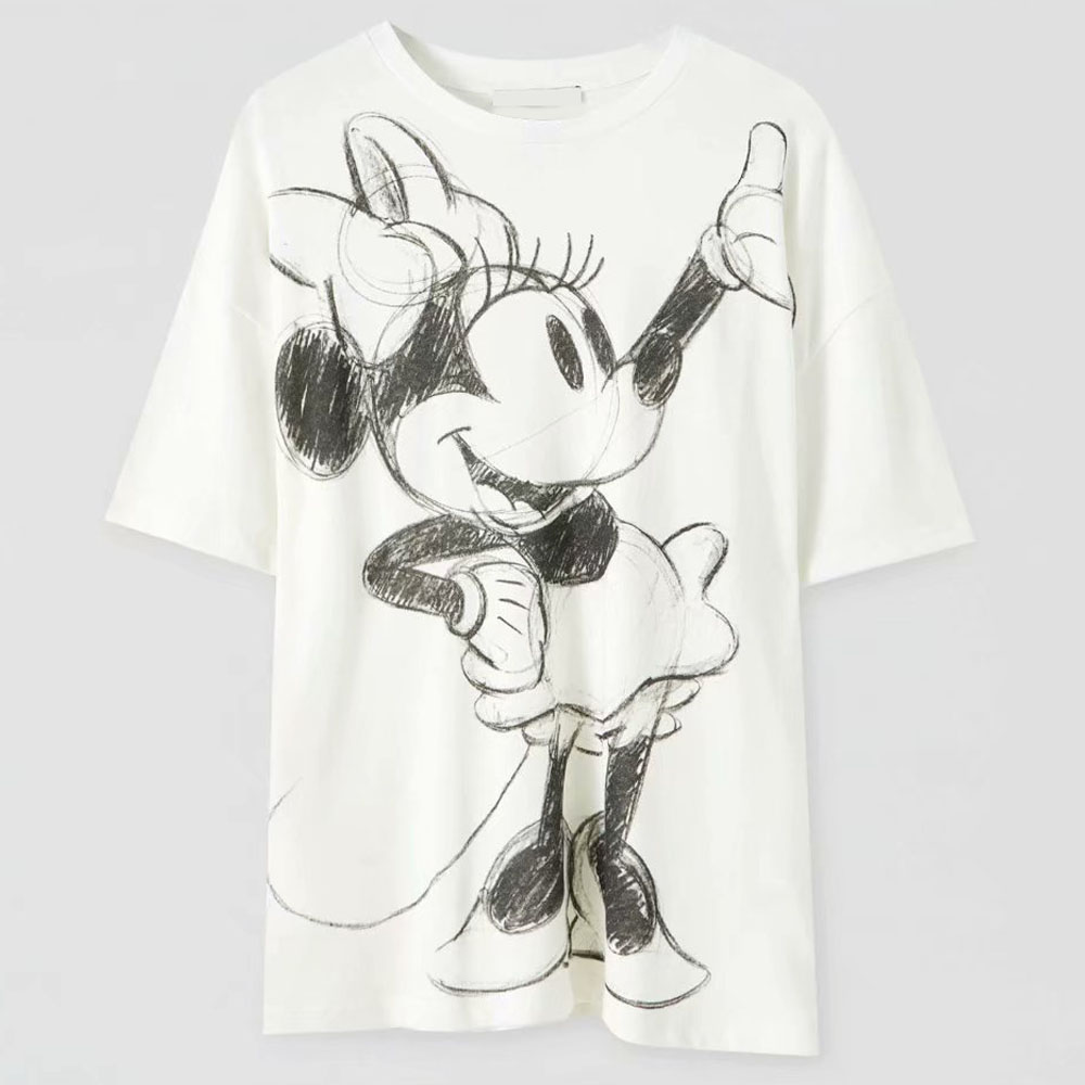 Disney Family T-Shirt Fashion Winnie the Pooh Mickey Mouse Stitch Fairy Dumbo SIMBA Cartoon Print Women T-Shirt Cotton Tee Tops 19
