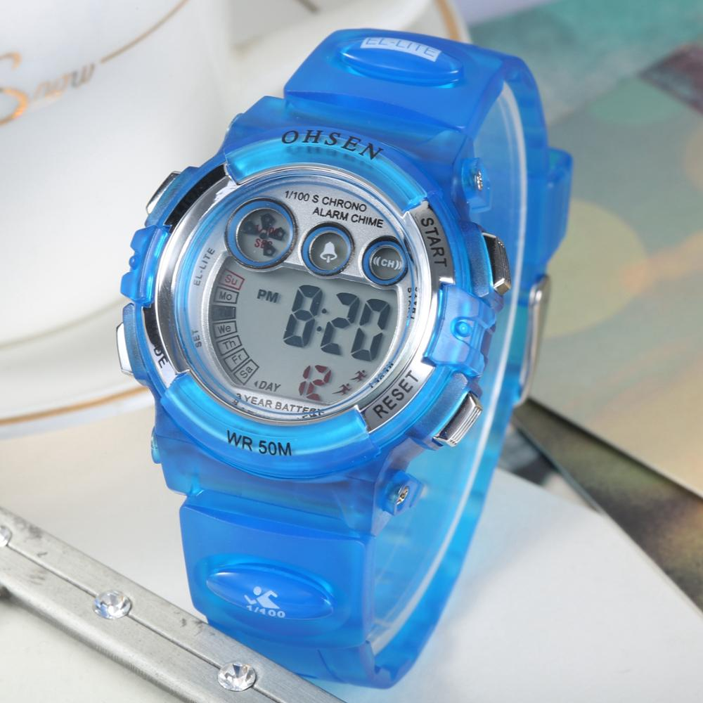 OHSEN Digital Waterproof Kids Women Watch Sports Blue Silicone Boys Wrist Watches Children Girls Outdoor LED Electronic Clocks
