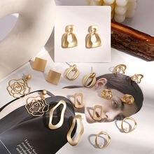Модные металлические элегантные серьги кольца для женщин 2020