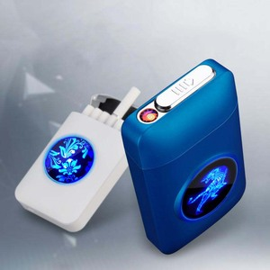 Resin Metal Capacity Cigarette Case Box With USB Electric Lighter Tobacco Storage Case 19PCS Cigarette Holder Plasma Arc Lighter