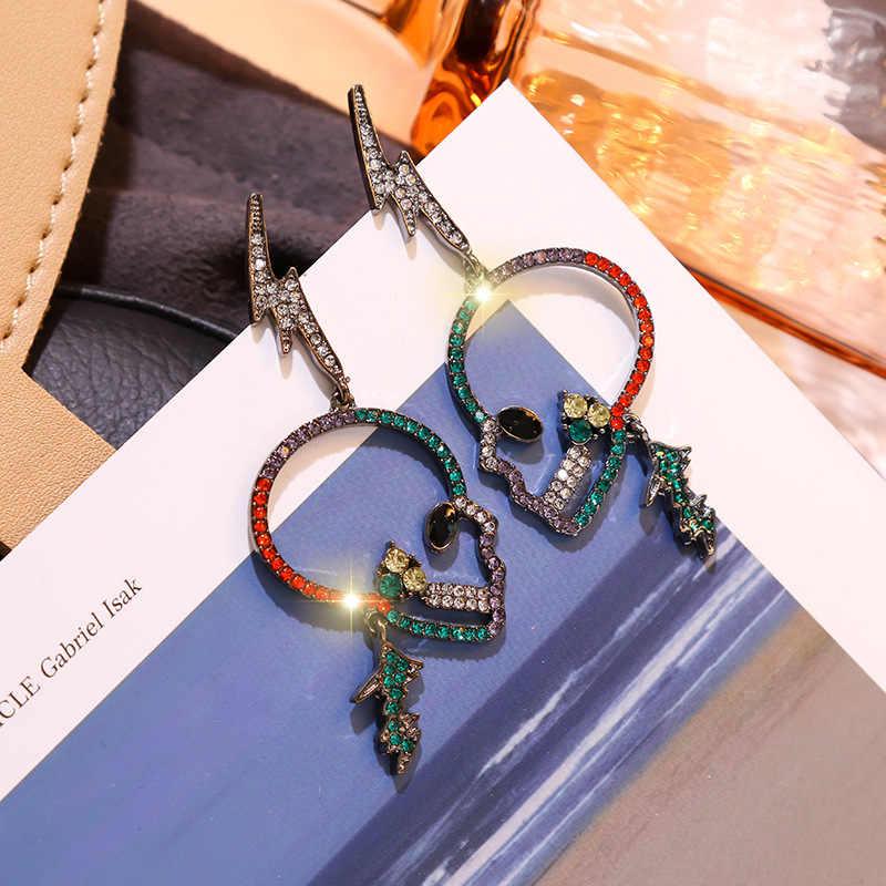 声明パンクスタイルカラフルなクリスタルスカル女性のファッション雷ビッグドロップブラブライヤリング韓国ジュエリー Pendientes XE034