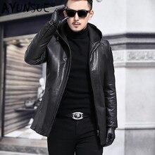 AYUNSUE, новинка, мужская куртка из натуральной кожи, с капюшоном, Ретро стиль,, овчина, пальто, Осень-зима, натуральная кожа, куртки 135-1 J3118