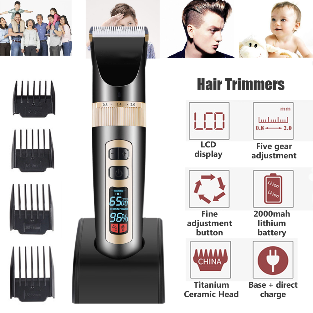 Professional Digital Hair Trimmer Rechargeable Electric Adjustable Hair Clipper Men Haircut Cutting Machine With Charging Base