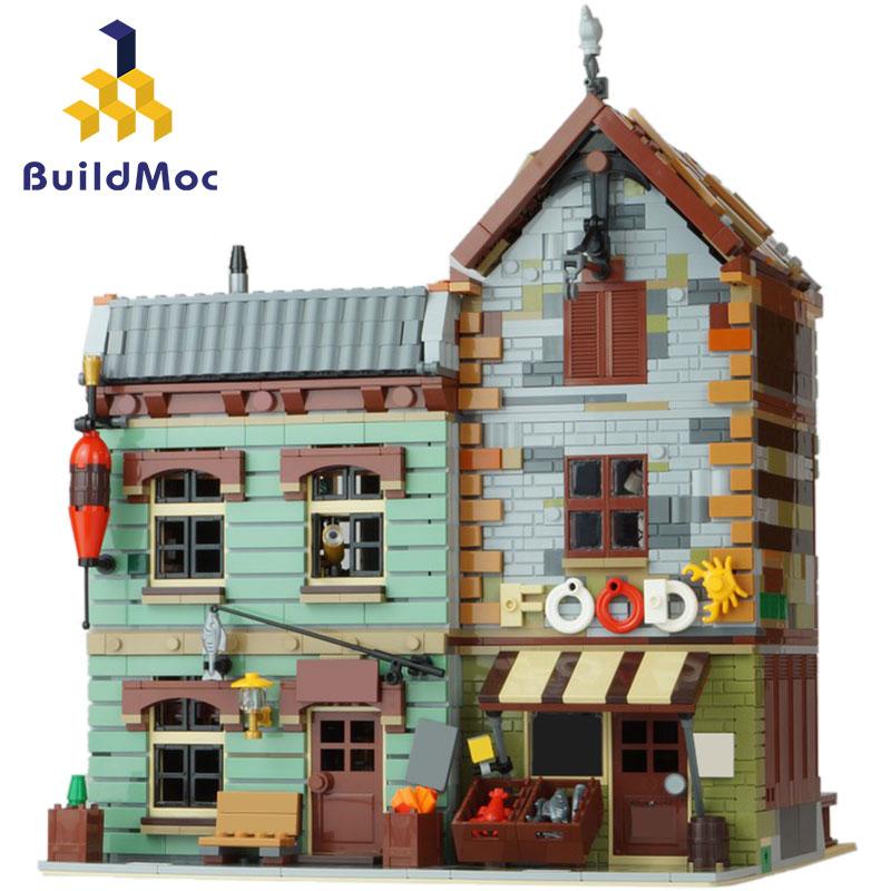 Building Blocks Sets MOC 30101 The Old Fishing House Pier Bricks Toys for Kids