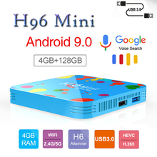 Newest set top box H96mini plus tv android 9.0 4GB RAM128GB Smart TV BOX H96 Mini h6 H.265 6K support iptv italia m3u
