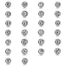 Nueva pulsera de moda Vintage alfabeto A-Z 26 letras plata claro CZ cristal chino nudo DIY abalorio para mujer
