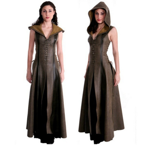 Image 2 - Women fashion Sexy Slim Lace Up Leather Medieval Ranger Long Dress Adult Coats Cosplay disfraz mujer Costume Halloween