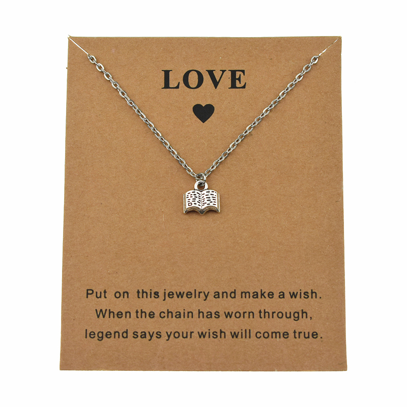 New Antique Little Book Charm Pendant Necklace Reading Symbol for Reader Library Souvenirs Gifts Card Love Unique Jewlery(China)