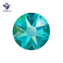 YANRUO 2088NoHF 8 Big 8 Small Blue Zircon Plating AB Stones And Crystal Nais Art Glue Crystal Decor Diamond Stones For Jewelry