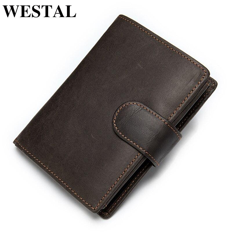 WESTAL Men's Wallet Leather Purse For Men Wallets Men Crazy Horse Men's Purse/clutch Bag For Card Holder Vintage Money Bag 8301