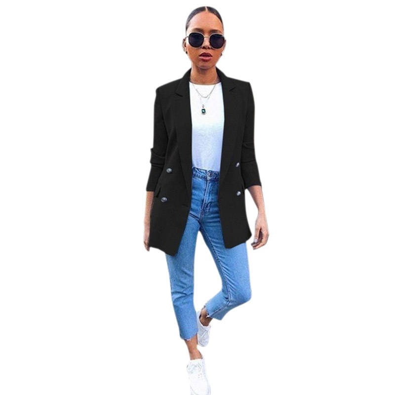Blazer Womens Suit Jackets Long Solid Coats Office Ladies Turn Down Collar Jacket Casual Female Outerwear Autumn Suit