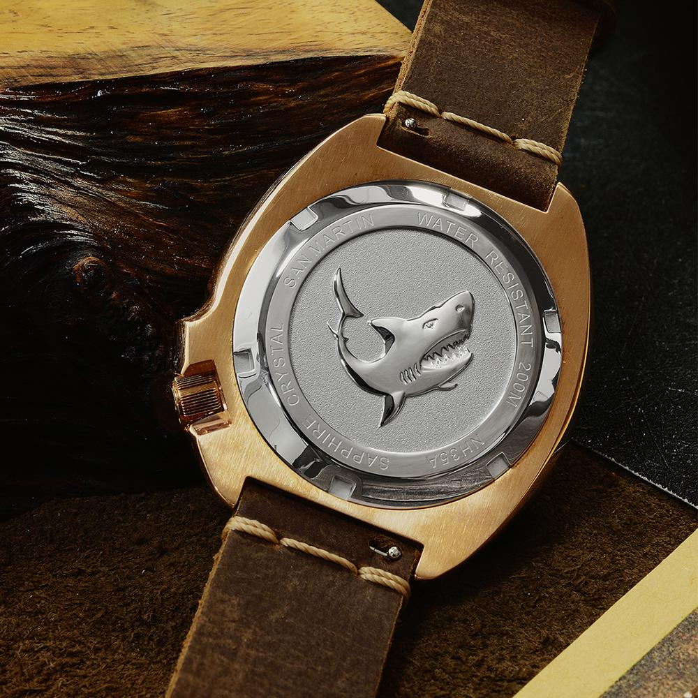 San Martin New Bronze Tuna 6105 diving watches 200m Water Resistant Shark leather strap men automatic wrist watches for male Men - 4