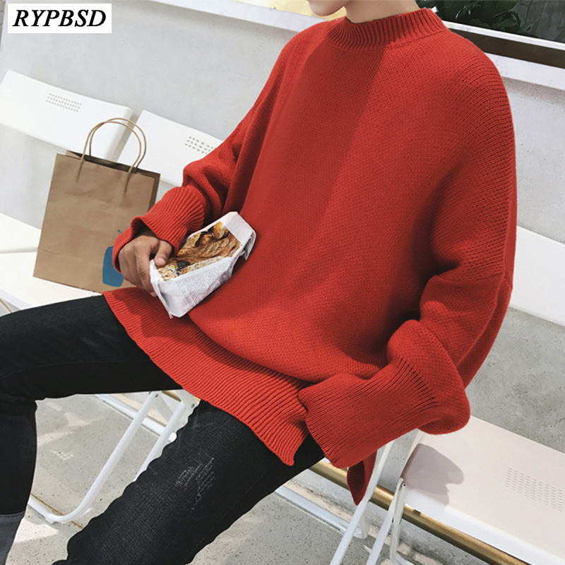 Men Knit Sweater Round Neck Solid Color Long Sleeve Hip Hop Men Sweater Pullover Fashion Casual Knitted Men Sweater Cashmere