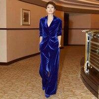 Women's suit 2 piece set star with blue velvet casual women's suit blazers trousers business professional suits