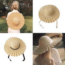 Соломенная шляпа с широкими полями лентой; Летнее Кепки волнистым