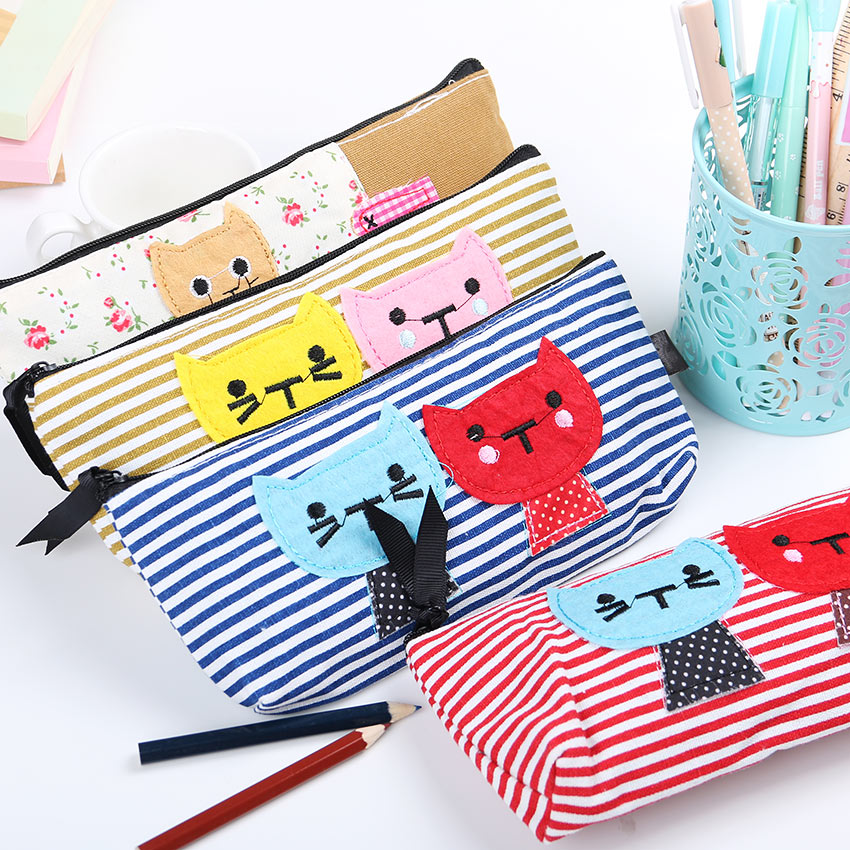 1PC New Canvas Cartoon Cat Stripe Pencil Case Cosmetic Bag Stationery Material Escolar Papelaria School Supplies