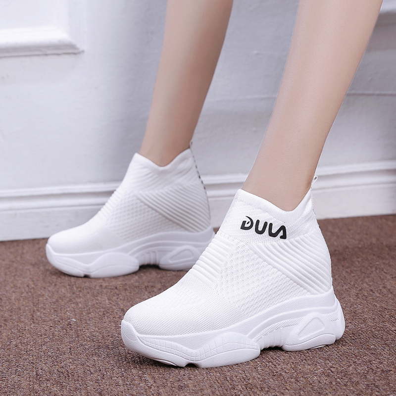 Breathable Knitted Chunky Sneakers Women 2020 New Autumn Solid Wedge Sock Shoes Woman Thick Bottom High Top Shoes Female