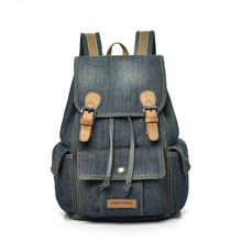New Retro Trendy Washed Denim Backpack College Wind Leisure Large Capacity Trave