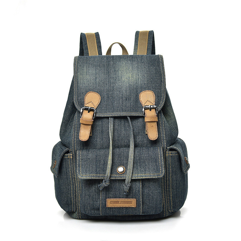 New Retro Trendy Washed Denim Backpack College Wind Leisure Large Capacity Travel Bag Fashion Tide Women's Backpack