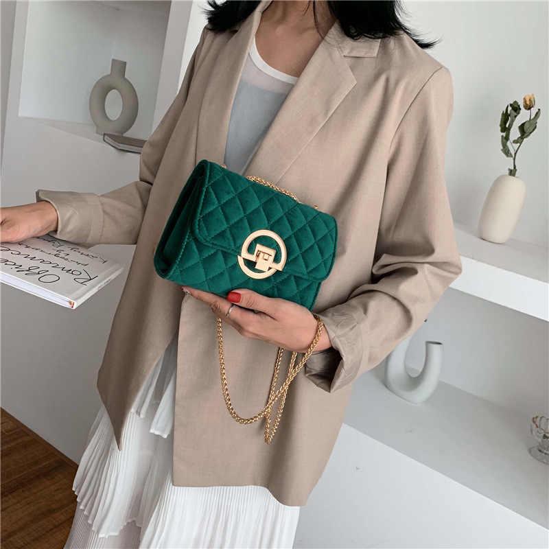 Винтажная модная женская клетчатая сумка YL, новинка 2020, качественная бархатная женская дизайнерская сумка с цепочкой и замком, сумки-мессенджеры на плечо