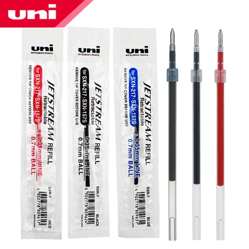 12 Pcs/Lot Mitsubishi Uni SXR-7 Jetstream Series Smooth Ballpoint Pen Refill 0.7mm For SXN-217 Gel Pens
