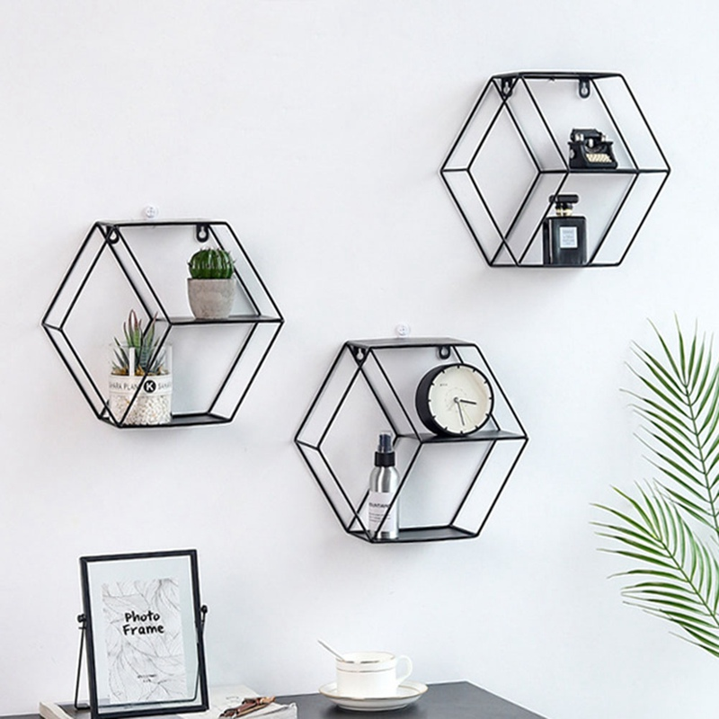 Nordic Style Wall Shelf Metal Hexagon Storage Holder Rack Ornament  Shelves Home Decor for Potted Sundries