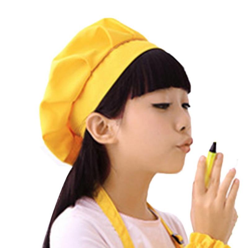 JODIMITTY 2020 Cute Kids Girls Boys  Hat Children Cooking Baking Kitchen School Children Bib Headwear Solid Caps DIY Painting
