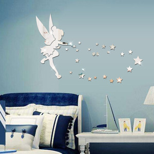 Removable Fairy Mirror Wall Sticker Decal 3D DIY Acrylic Wall Decal Wallpaper Home Kids Bedroom Living Room Decoration Sticker