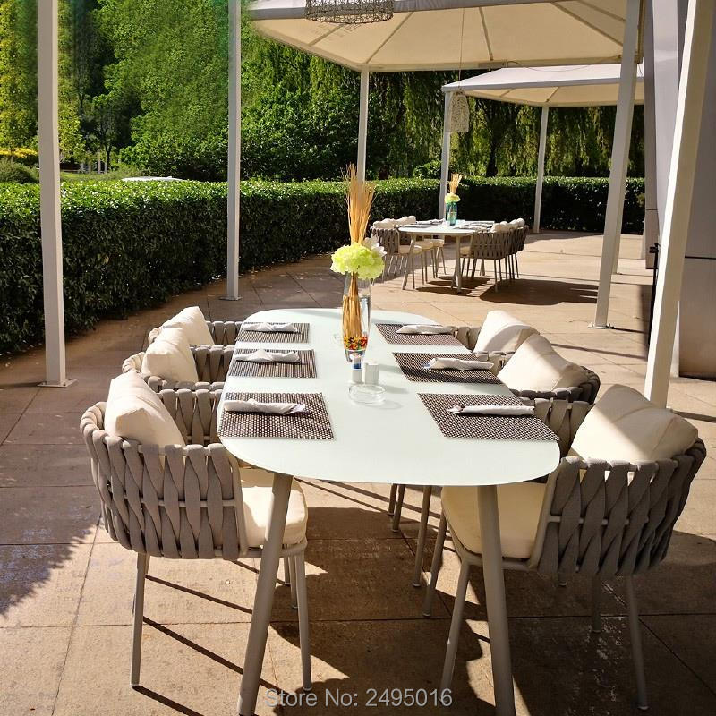 New Design Good Quality Garden Hemp Rope Furniture Patio Aluminum Frame Dining Chair For Restaurants, Cafes,hotel