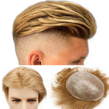Eseewigs 21# Blonde Mens Hair Replacement System Toupee Whole PU Base 10x8 Natural Straight Brazilian Remy Human Hair Piece