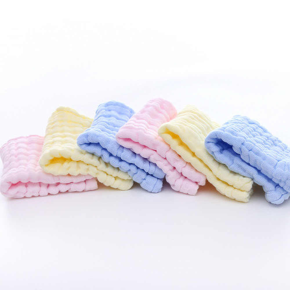 Seis capas seersucker toalla cuadrada de algodón Toalla de saliva bebé 30*30 absorbente toalla para el rostro pequeña