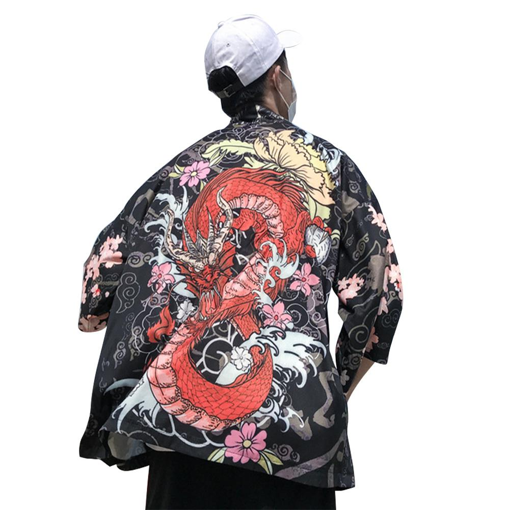MISSKY 2019 New Spring Summer Shirt Male Female Three Quarter Sleeve Loose Thin Kimono Cardigan Shirt For Men Women Lovers