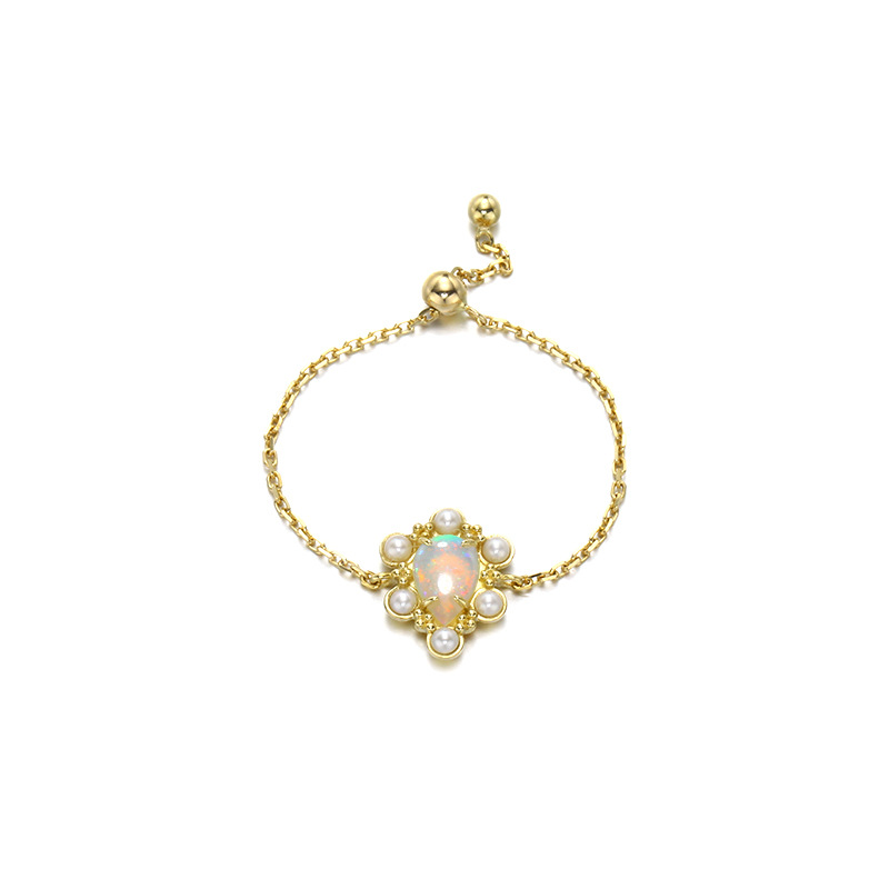 Elegant 9K Real Yellow Solid Genuine Gold Opal Pearl Gemstone Chain Link Rings Bands For Women Girl Fancy Fine Office Jewelry