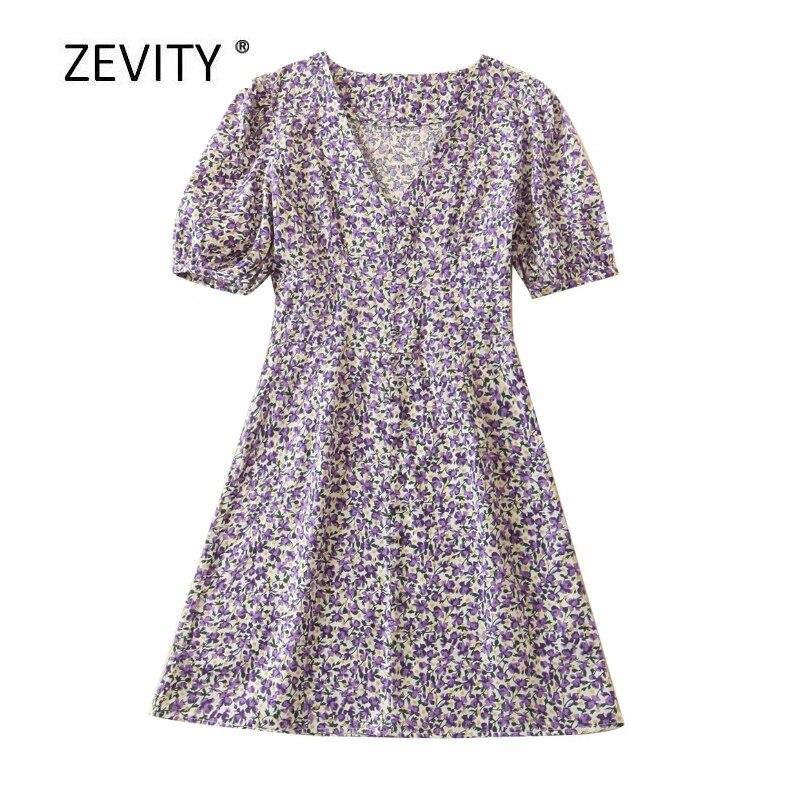 Zevity New Women vintage v neck flower print casual slim mini Dress Ladies puff sleeve size zipper vestido A Line Dresses DS4028