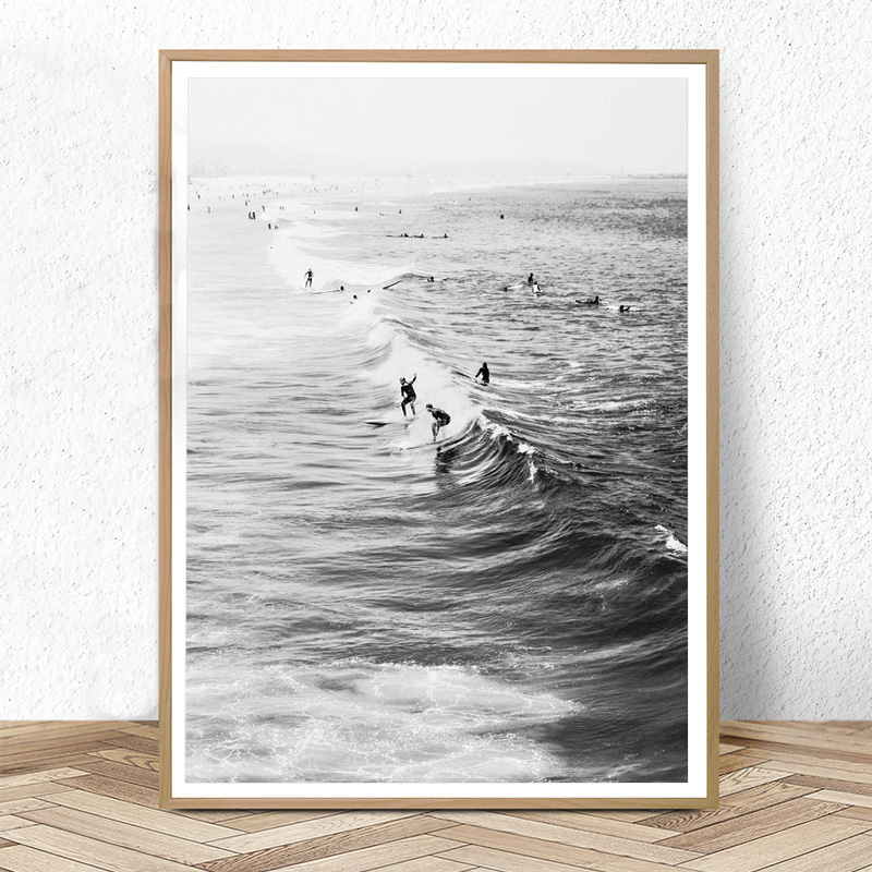 Surf Poster California Wall Art Black and White Ocean Print Beach Modern Canvas Painting Surfing Coastal Decor for Living Room
