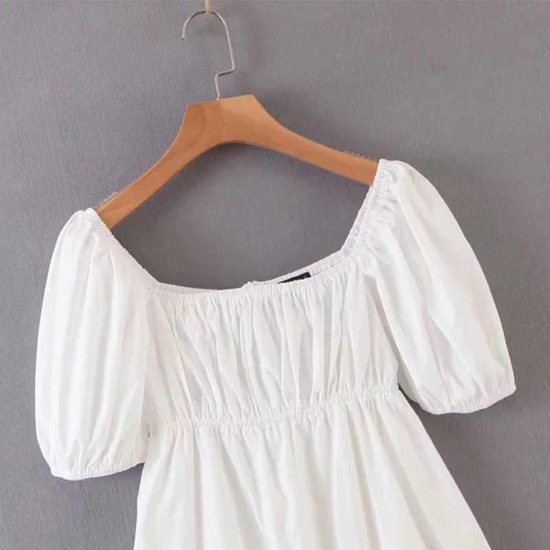 白綿弾性aラインパフ袖の女性のドレスuネックバックジッパー女性ミニドレス 2020 夏固体女性vestidos
