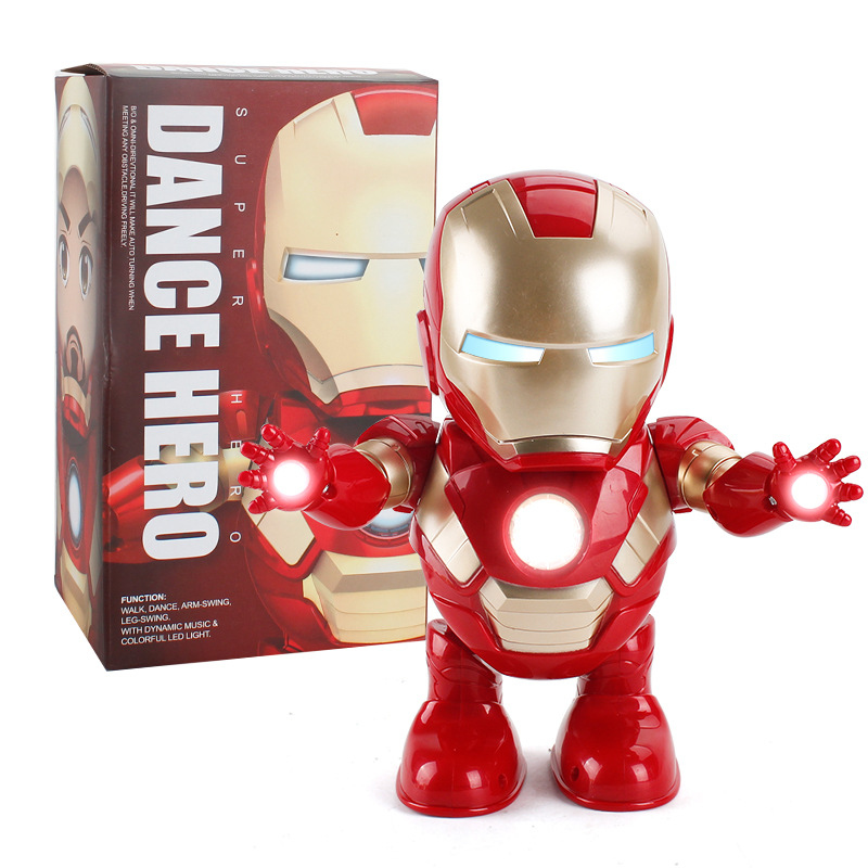 Dancing Robot Iron Man Captain America LED  Music Toy Superhero Robot Funny Avenger Toys For Children Adult