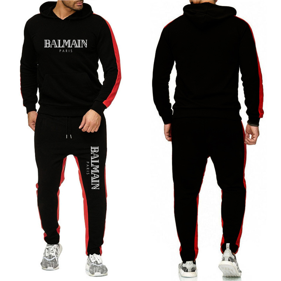 Balmai Ouma Sports Set Printed Letter Men Stripes Hoodie + Athletic Pants Fitness Suit
