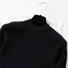 Spring Autumn Knitted Long Sleeve O-Neck Pullover