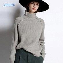 Jesic – pull en cachemire pour femme, col haut, épais, ample, en laine tricotée, grande taille, nouvelle collection automne et hiver